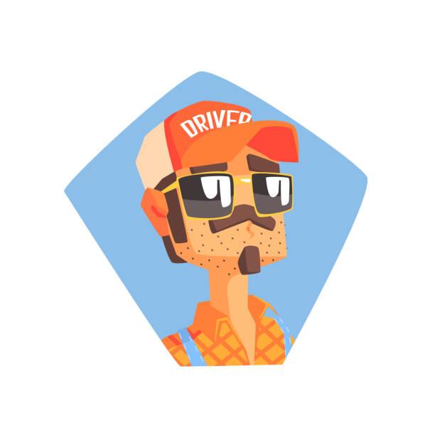 ilustraciones, imágenes clip art, dibujos animados e iconos de stock de long distance truck driver portrait - conductor de autobús