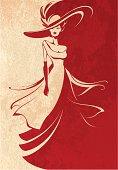 Young Beautiful Woman Wearing a Long Dress - Vector Illustration