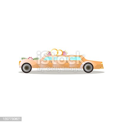 istock Long gold color just married limousine with flowers and rings 1207730821