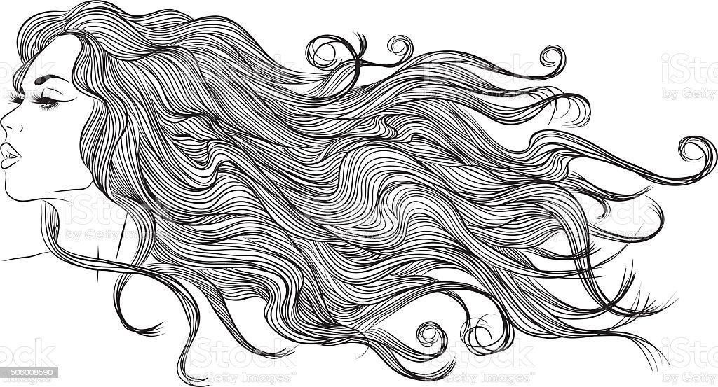 long hair girl profile outline monochrome drawing vector art illustration