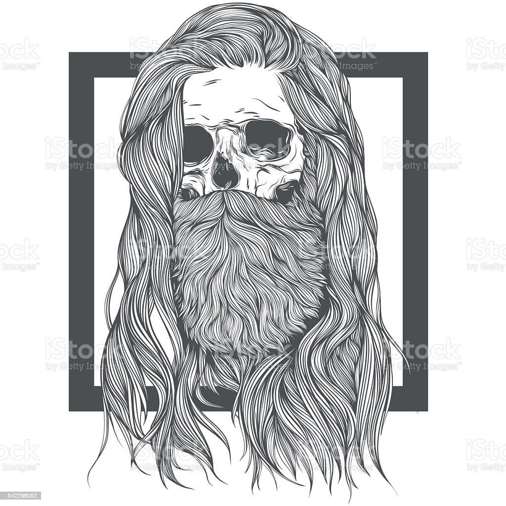 Long Hair Skull vector art illustration