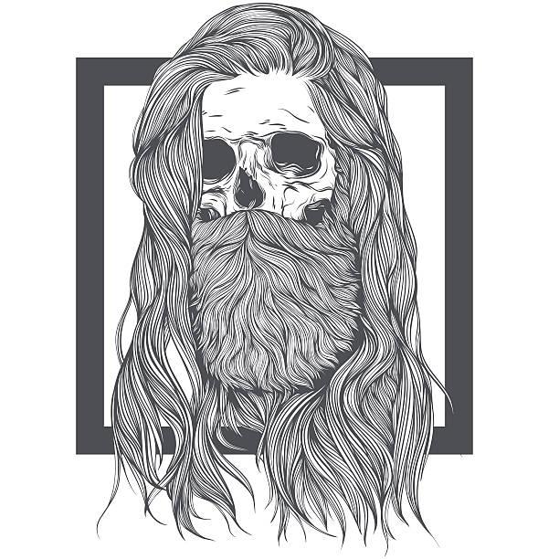 ilustraciones, imágenes clip art, dibujos animados e iconos de stock de long hair skull - cabello largo