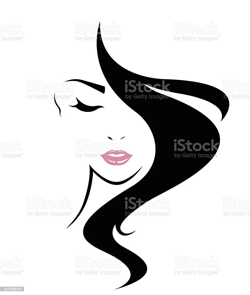 long hair style icon, logo women face vector art illustration