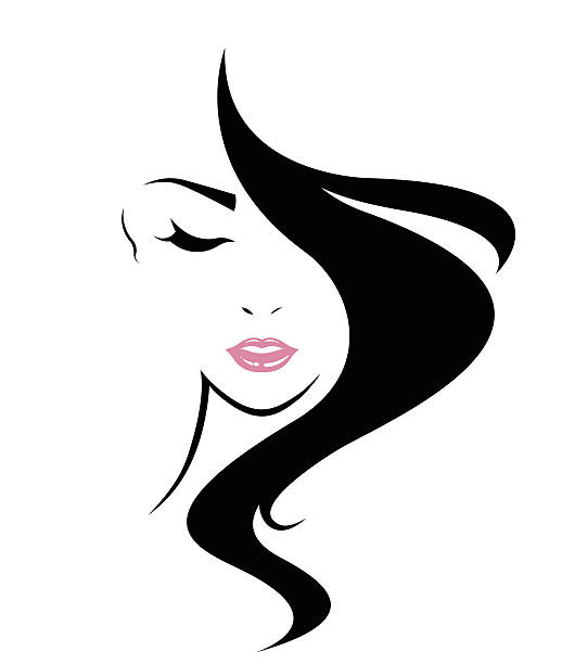 long hair style icon, logo women face - makeup fashion stock illustrations