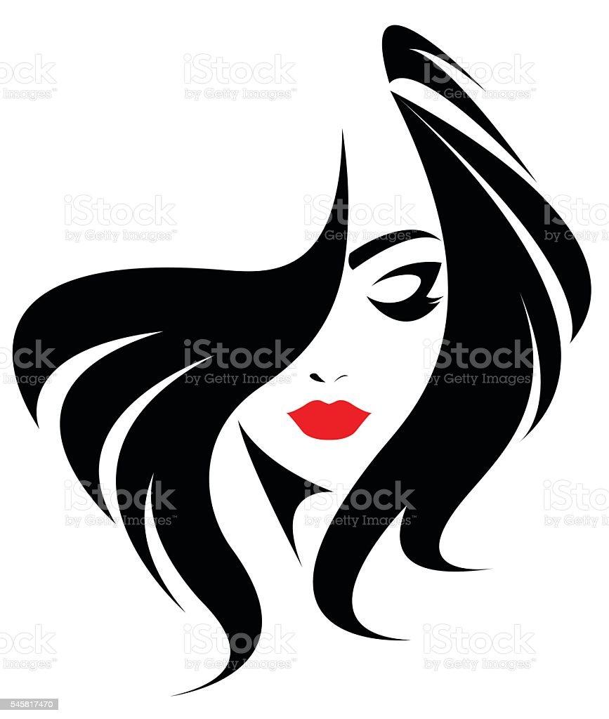long hair style icon, logo women face vector art illustration