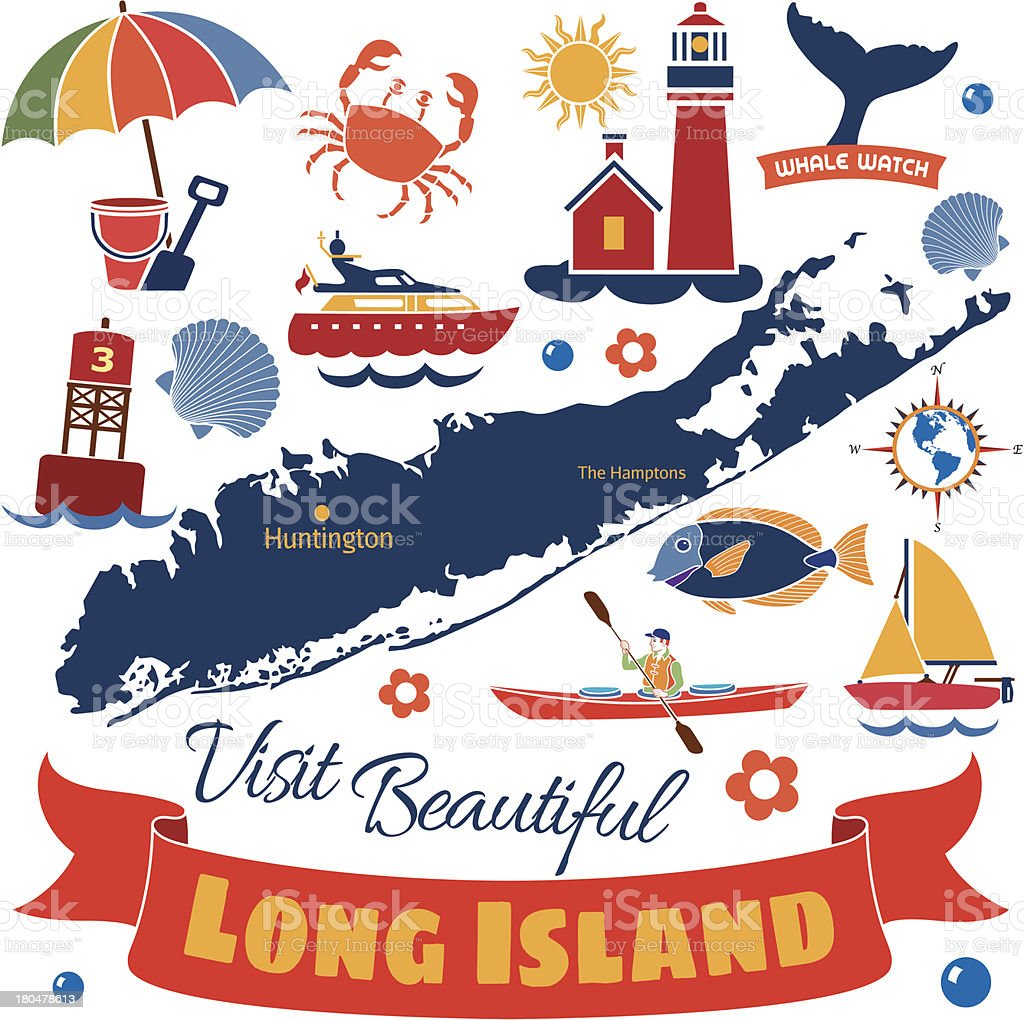 Long Island color  map with icons vector art illustration
