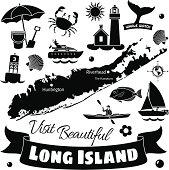 Vector travel illustration of Long Island New York.
