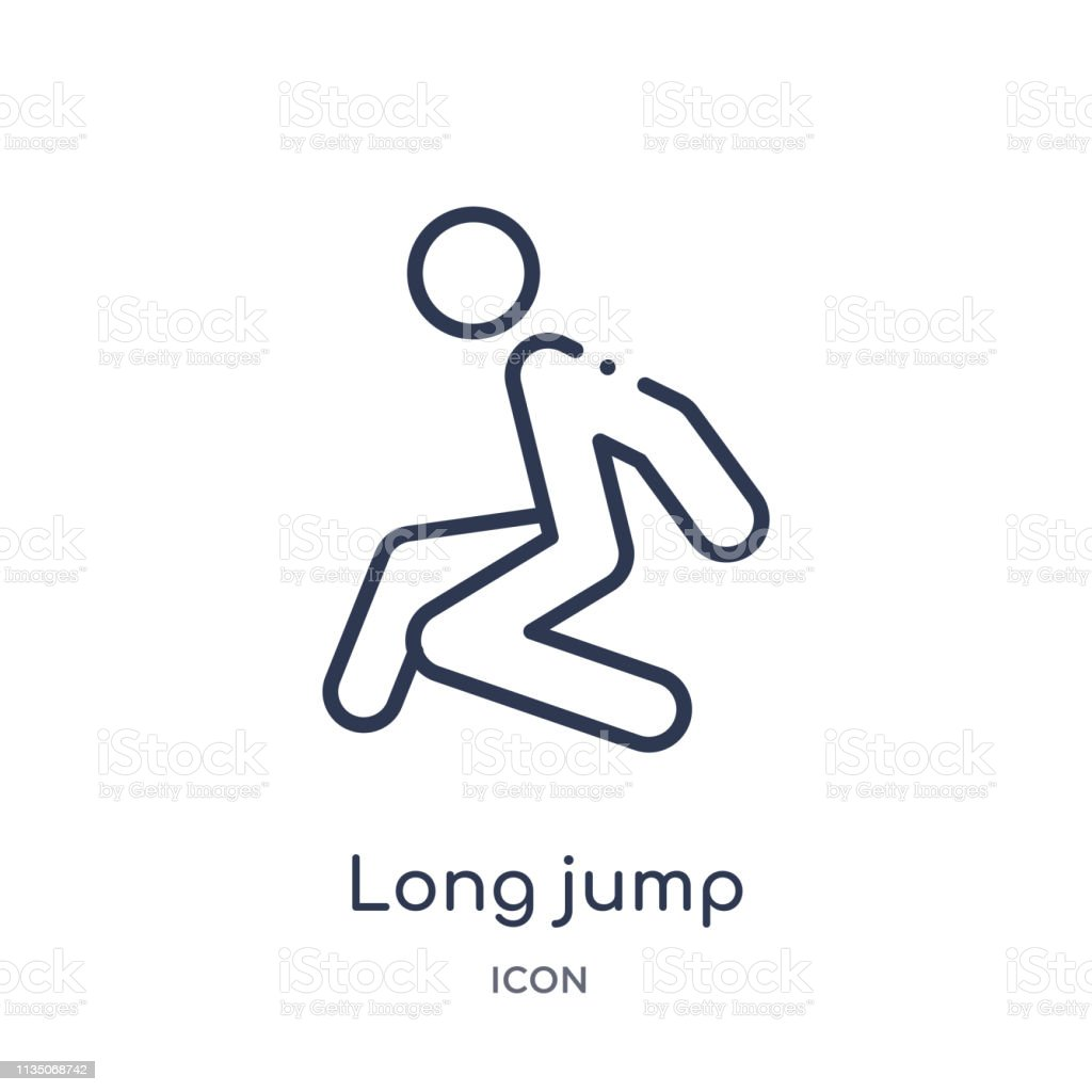 Long jump icon from olympic games outline collection thin line long jump icon isolated on