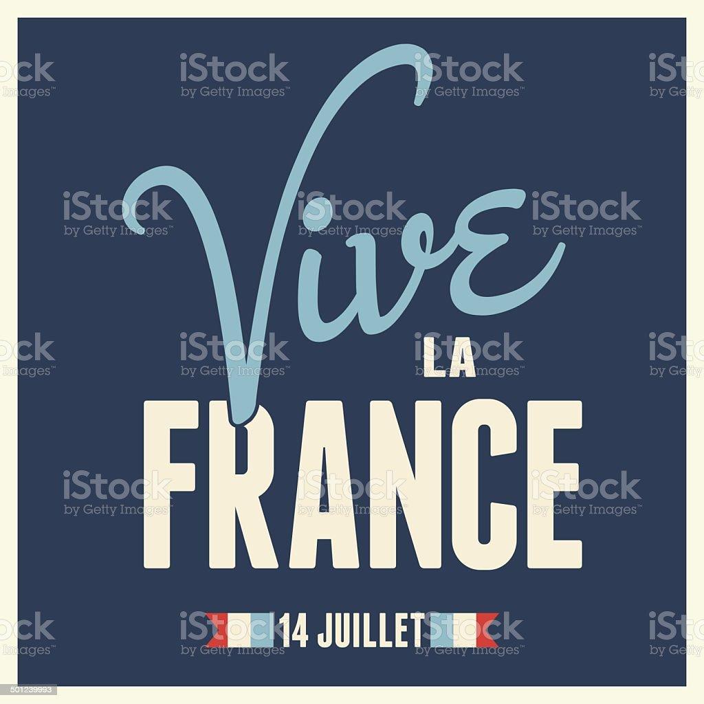 Long Live France Card Design vector art illustration