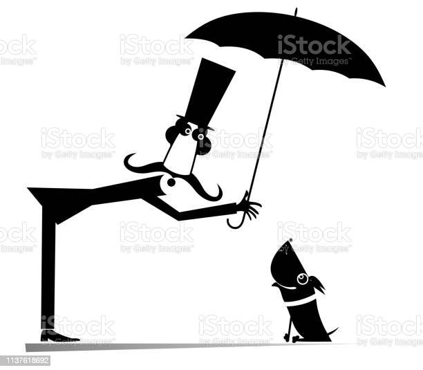 Long mustache man umbrella and the dog illustration vector id1137618692?b=1&k=6&m=1137618692&s=612x612&h=tblcld9y gz9sycp hzusemuefiisezfdbzfrlfyiqm=