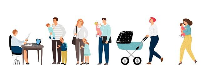 Long queue parents with children