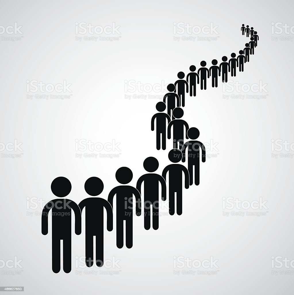 Long queue vector art illustration