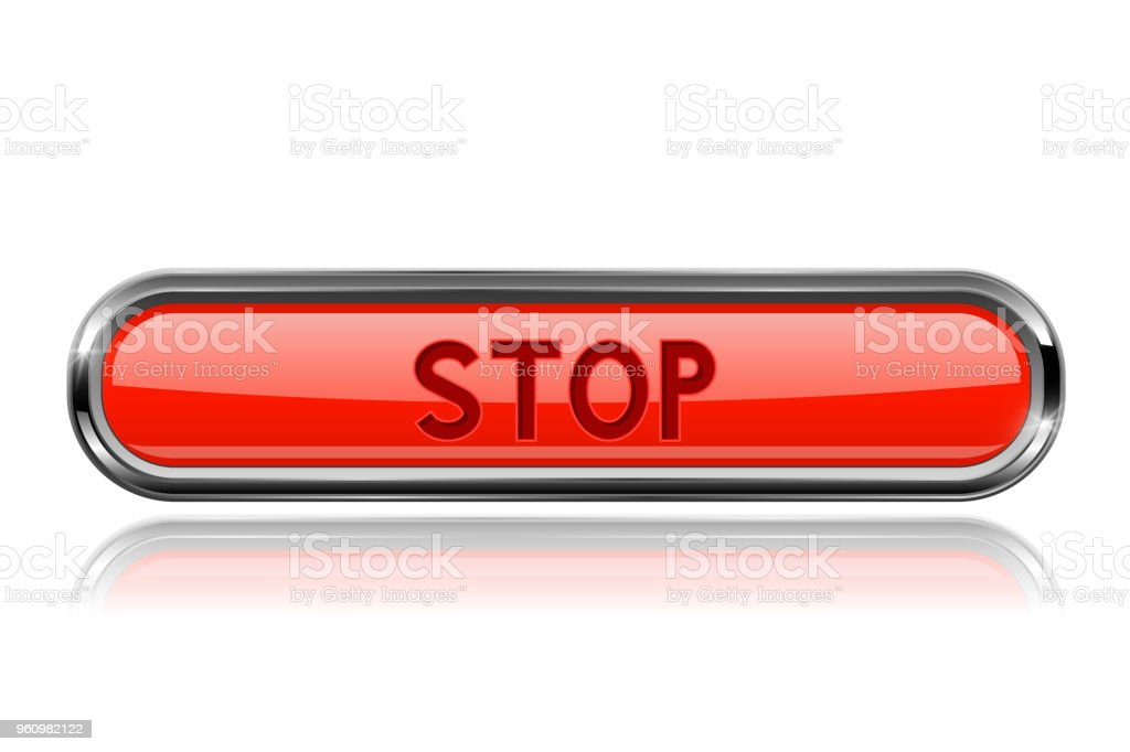 Long Red Stop Button With Bold Chrome Frame 3d Shiny Icon