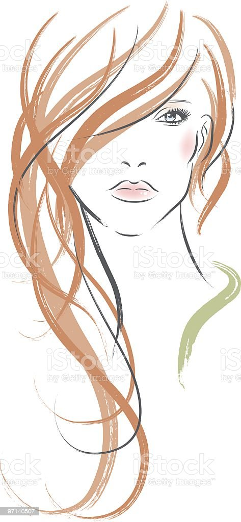 Long redhaired woman vector art illustration
