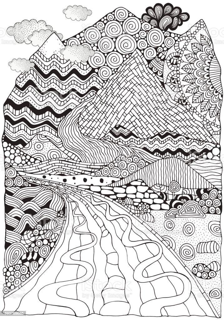 Uzun Yol Ve Dağlar Doodle Manzara Anti Stres Boyama Kitabı Sayfa