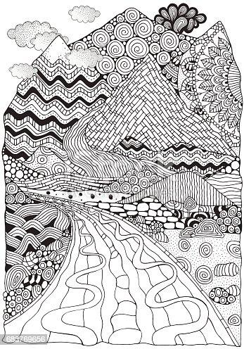ᐈ Imagen De Largo Camino Y Montañas Paisaje De Doodle