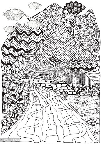 Long Road And Mountains Doodle Landscape Anti Stress