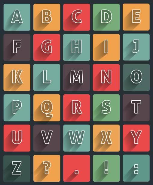 lange schatten alfabet - schriftsymbol stock-grafiken, -clipart, -cartoons und -symbole