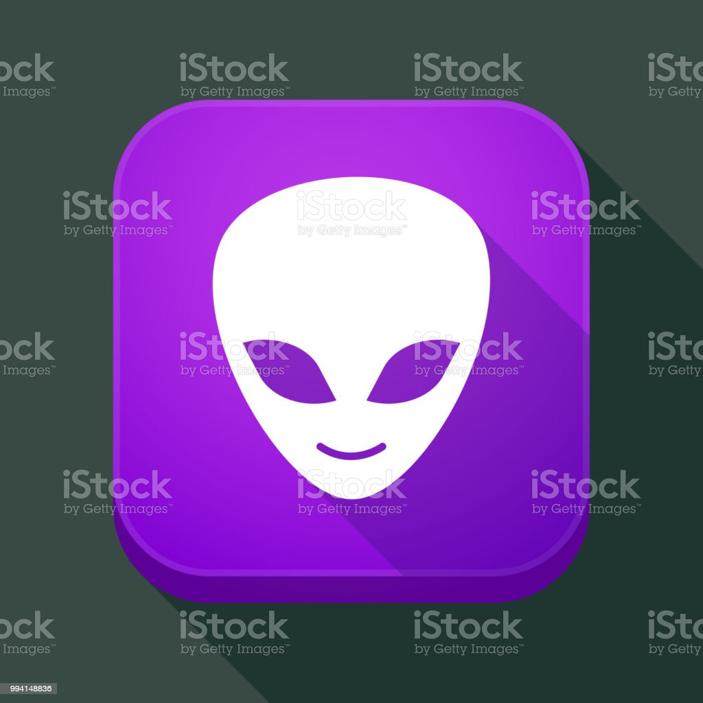 Long Shadow App Button With An Alien Face Stock Illustration