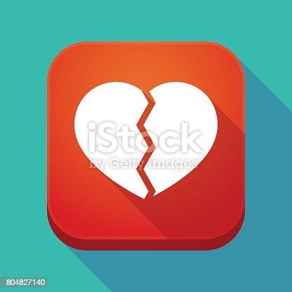 Long Shadow App Icon With A Broken Heart Stock Vector Art More