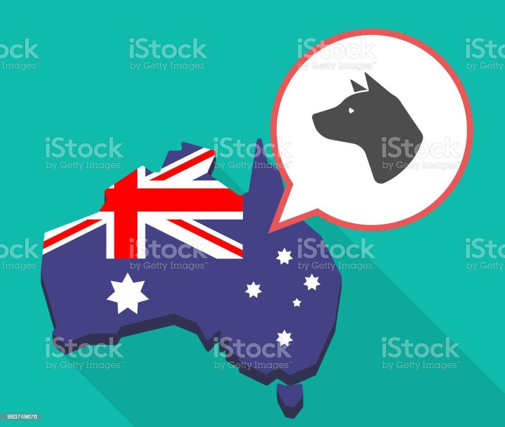 Australia Map Looks Like A Dog.Long Shadow Australia Map With A Dog Head Stock Illustration