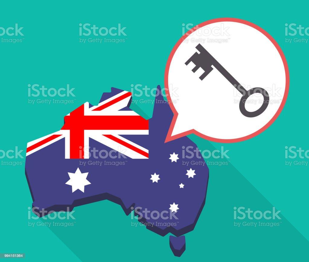 Australia Map Key.Long Shadow Australia Map With A Vintage Key Stock Vector Art More