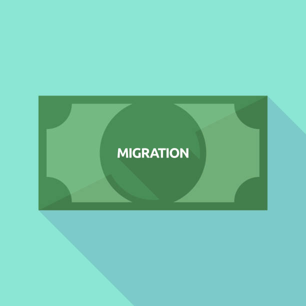 Long shadow bank note with  the text MIGRATION vector art illustration