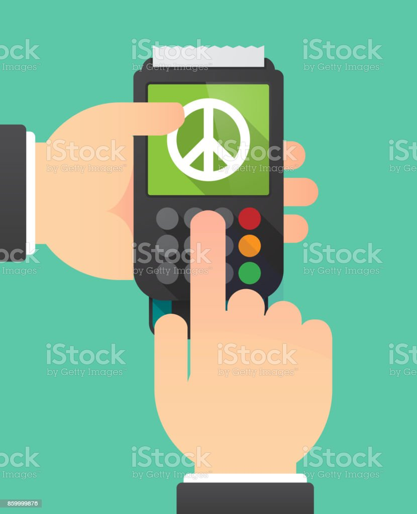 Long shadow dataphone with a peace sign vector art illustration