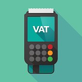 Long shadow dataphone with  the value added tax acronym VAT