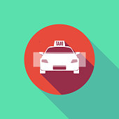 Illustration of a long shadow do not enter signal with  a taxi icon