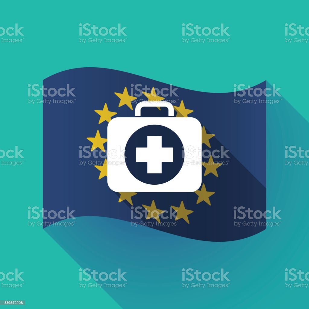 Long Shadow Eu Flag With A First Aid Kit Icon Stock Vector Art