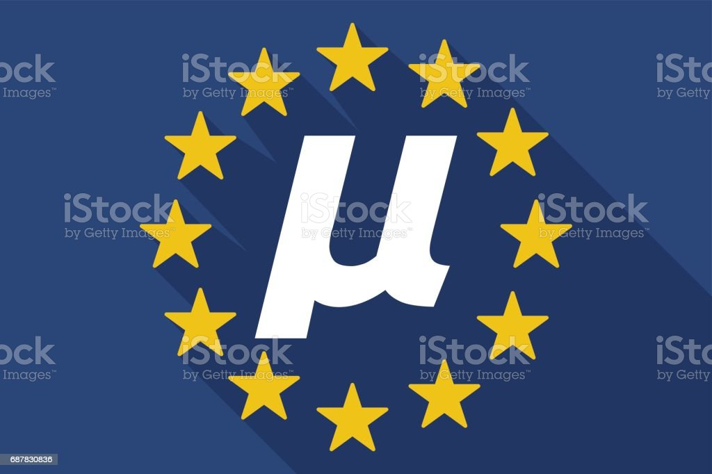 Long Shadow Eu Flag With A Micro Sign Mu Greek Letter Stock Vector