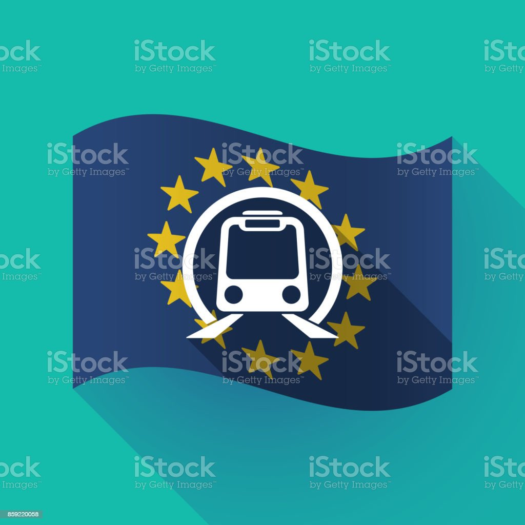 Long Shadow Eu Flag With A Subway Train Icon Stock Illustration Download Image Now Istock