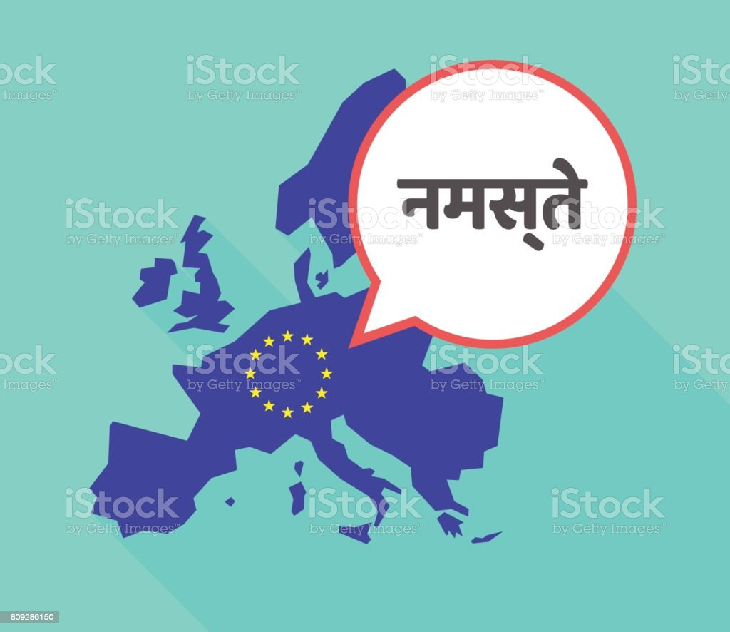 Long Shadow Eu Map With The Text Hello In The Hindi Language Stock