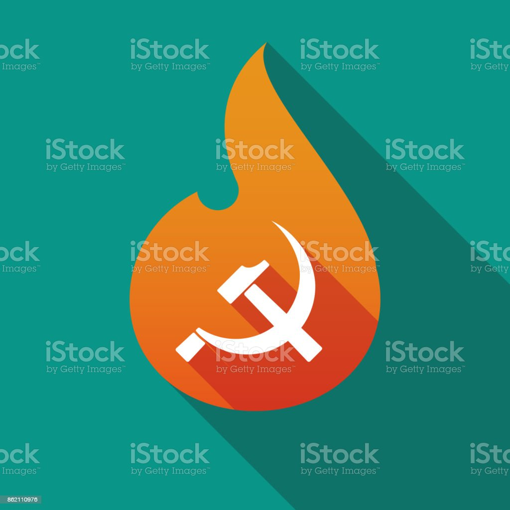 Long Shadow Flame With The Communist Symbol Stock Vector Art More