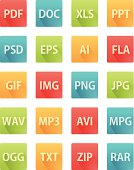 Long Shadow Flat Icons for File Formats