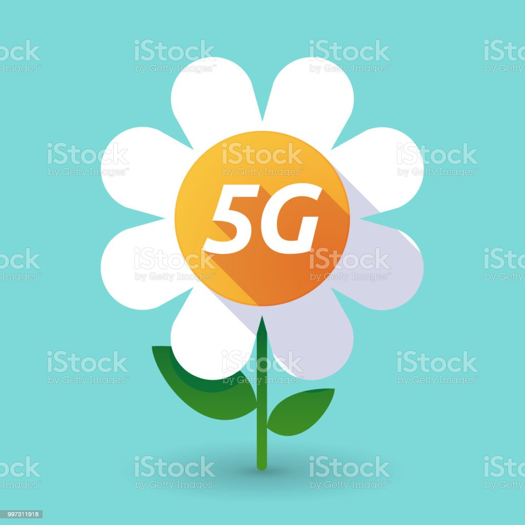 Long shadow flower with    the text 5G vector art illustration