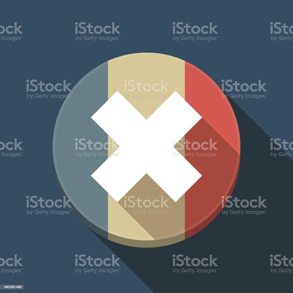 長い影 x サインとフランス国旗 アイコンのベクターアート素材や画像を