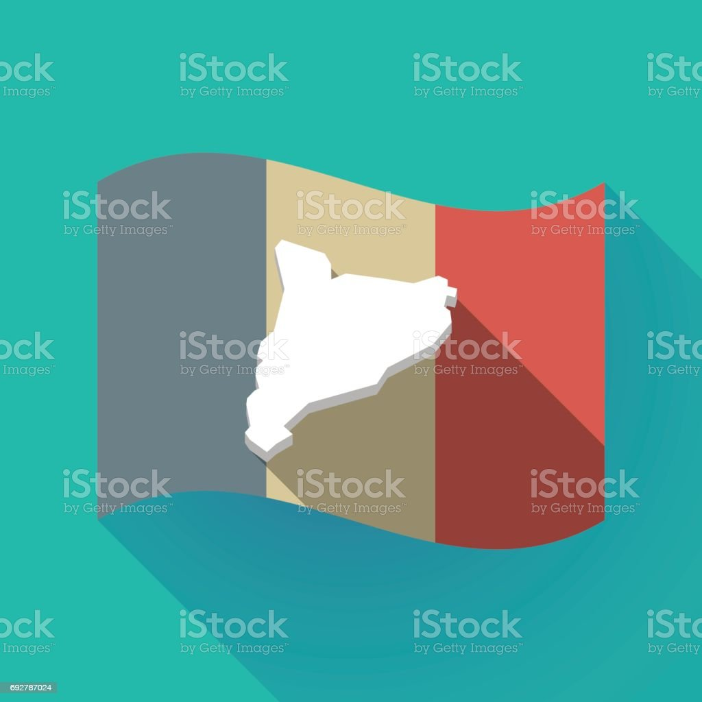 long shadow france flag with the map of catalonia stock vector art