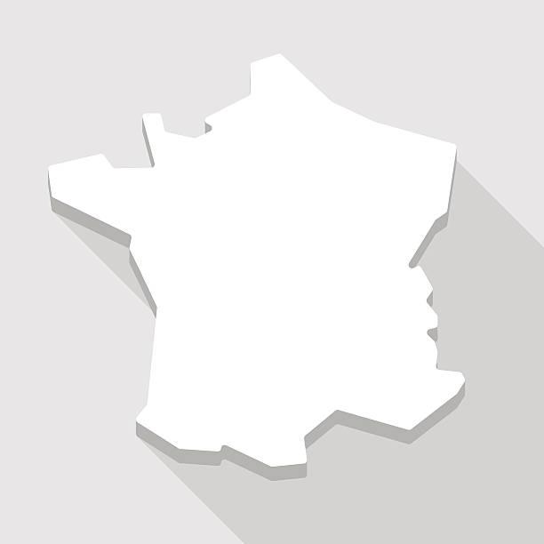 długi cień ikony mapy francja - francja stock illustrations