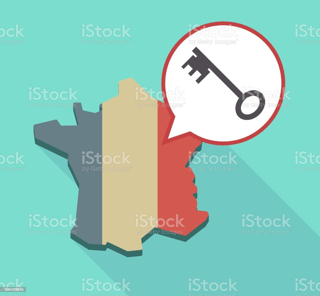 Map Of France With Key.Long Shadow France Map With A Vintage Key Stock Vector Art More