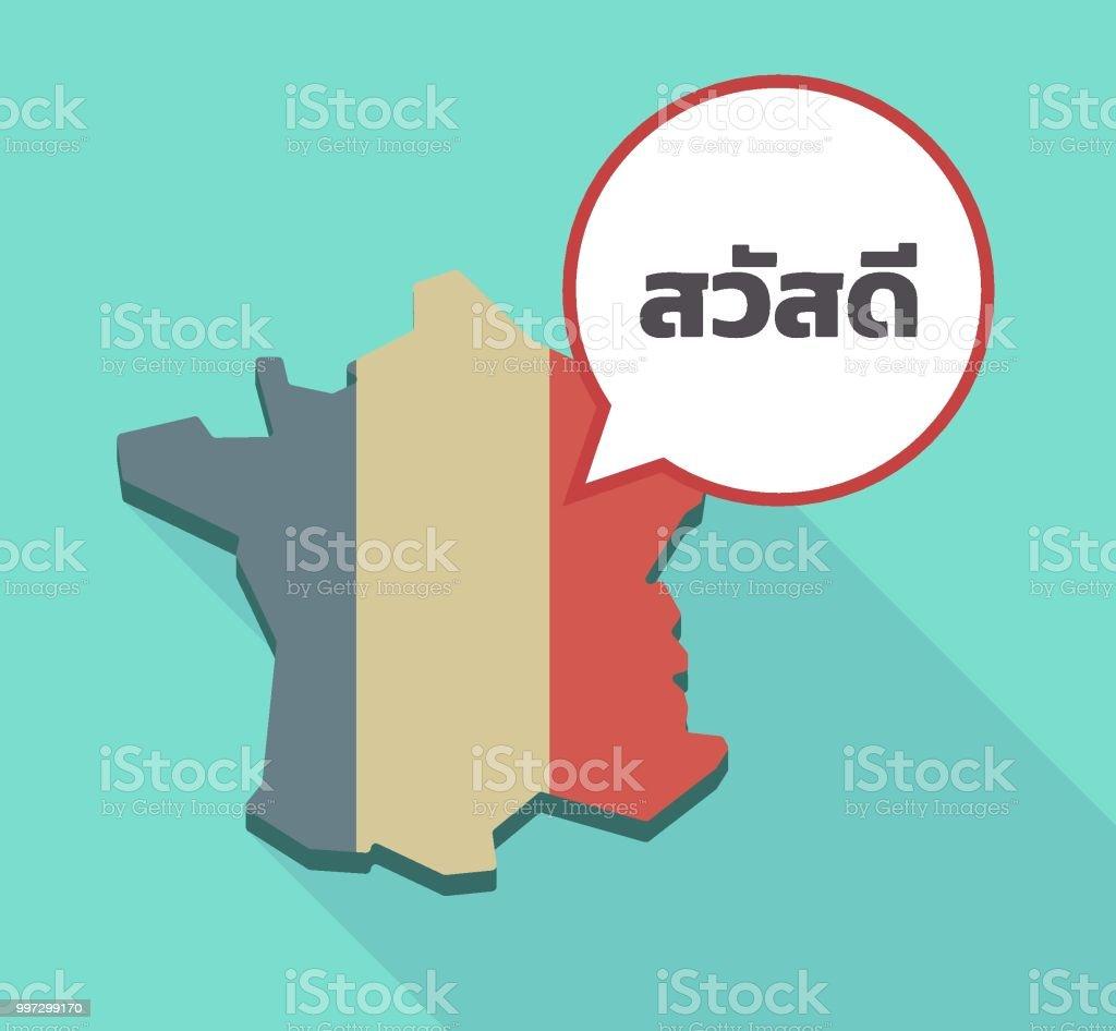 Thailande Carte Langues.Lombre Longue Carte De France Avec Le Texte Hello Dans La Langue