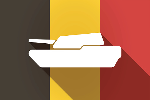 Long shadow Germany flag with  a combat tank