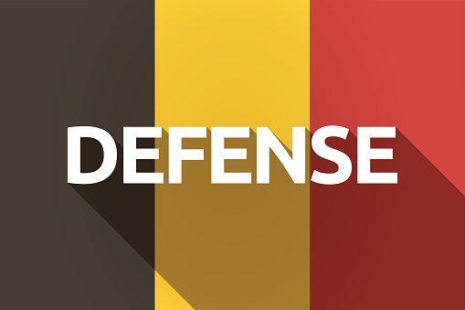 Long shadow Germany flag with  the text DEFENSE