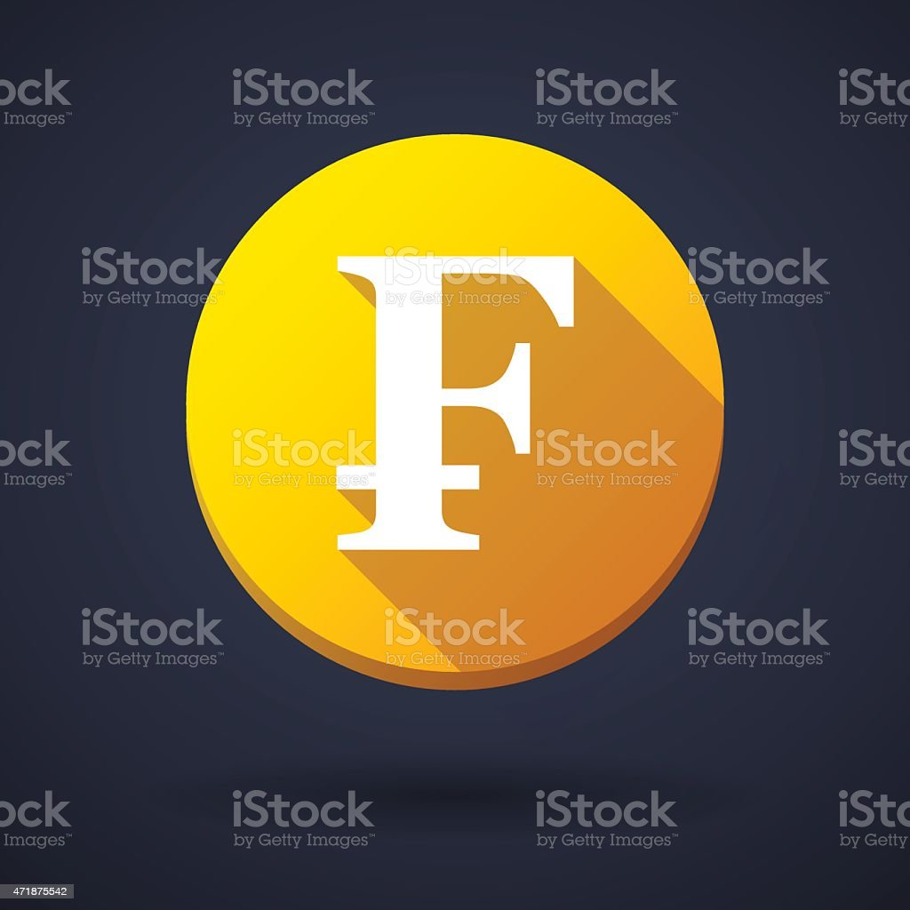 Long shadow icon with a currency sign vector art illustration