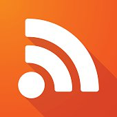 Illustration of a long shadow icon with a RSS feed sign