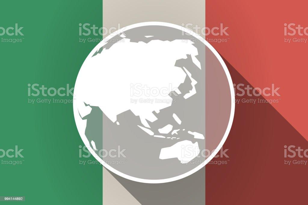 Carte Geographique Asie Pacifique.Longue Ombre Italie Drapeau Avec Une Carte Du Globe Monde Asie
