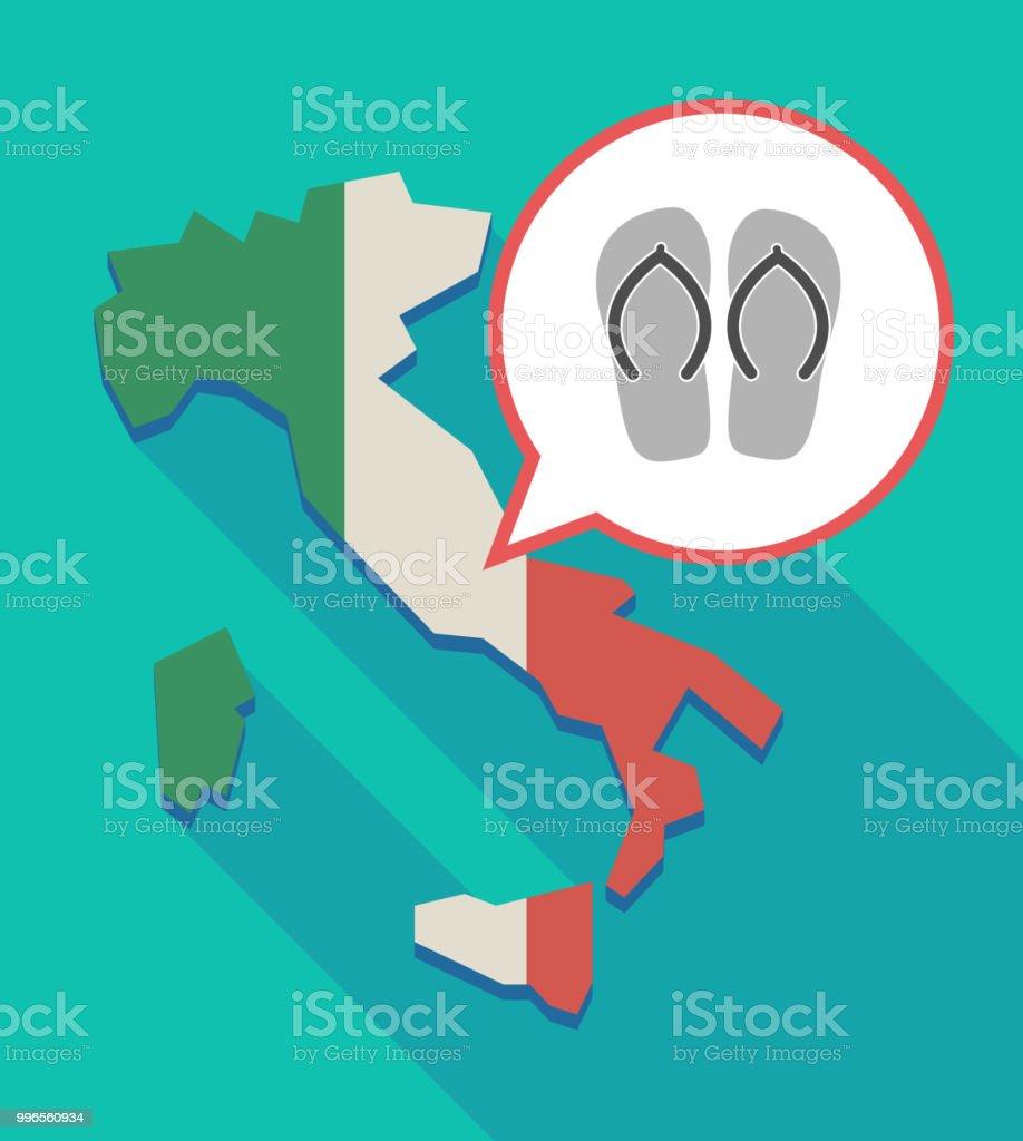 flops karte Lange Schatten Italien Karte Mit Ein Paar Flops Stock Vektor Art