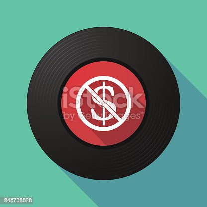Illustration of a long shadow long play vinyl with  a dollar sign  in a not allowed signal