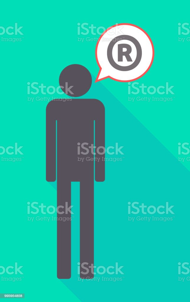 Long Shadow Male Pictogram With The Registered Trademark Symbol
